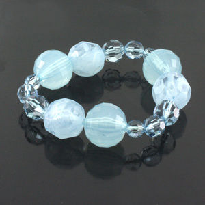 qvc Blue Tonal Faceted Mixed Bead Stretch Bracelet